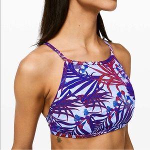 NEW NWOT Lululemon Floral Bikini Top Swim Purple 6